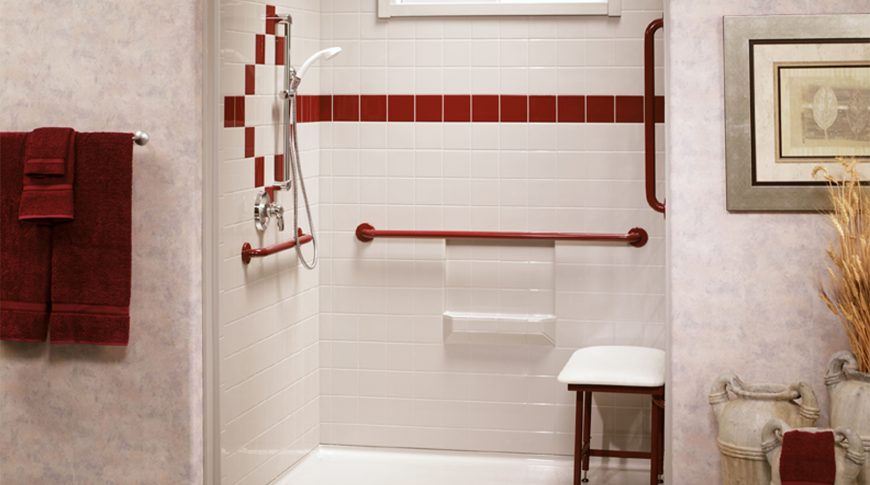 Best Bath Systems - White Barrier Free Shower With Red Accents